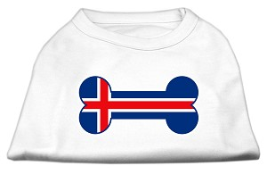 Bone Shaped Iceland Flag Screen Print Shirts White L (14)