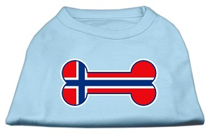 Bone Shaped Norway Flag Screen Print Shirts Baby Blue XXXL(20)
