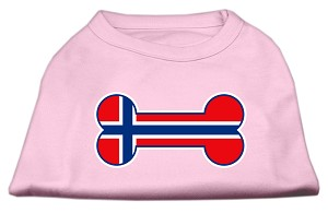 Bone Shaped Norway Flag Screen Print Shirts Light Pink S (10)
