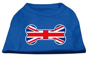 Bone Shaped United Kingdom (Union Jack) Flag Screen Print Shirts Blue XXXL (20)