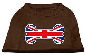 Bone Shaped United Kingdom (Union Jack) Flag Screen Print Shirts Brown XS (8)