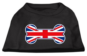 Bone Shaped United Kingdom (Union Jack) Flag Screen Print Shirts Black L (14)