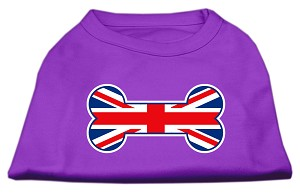 Bone Shaped United Kingdom (Union Jack) Flag Screen Print Shirts Purple S (10)