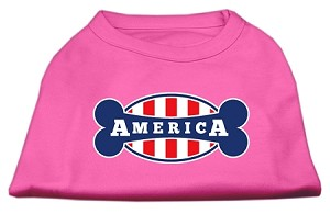 Bonely in America Screen Print Shirt Bright Pink XS (8)
