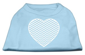 Chevron Heart Screen Print Dog Shirt Baby Blue Sm (10)