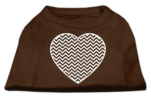 Chevron Heart Screen Print Dog Shirt Brown XXXL (20)