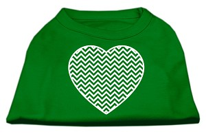 Chevron Heart Screen Print Dog Shirt Green Med (12)