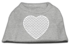 Chevron Heart Screen Print Dog Shirt Grey Med (12)
