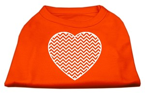 Chevron Heart Screen Print Dog Shirt Orange XL (16)