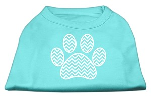 Chevron Paw Screen Print Shirt Aqua Lg (14)