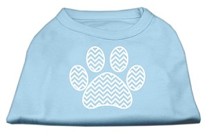 Chevron Paw Screen Print Shirt Baby Blue XXL (18)