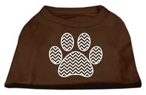 Chevron Paw Screen Print Shirt Brown Lg (14)