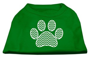 Chevron Paw Screen Print Shirt Green Med (12)
