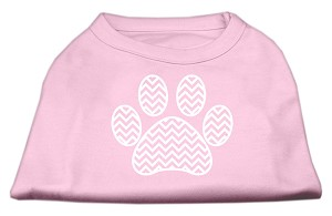 Chevron Paw Screen Print Shirt Light Pink Lg (14)