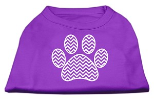 Chevron Paw Screen Print Shirt Purple Med (12)