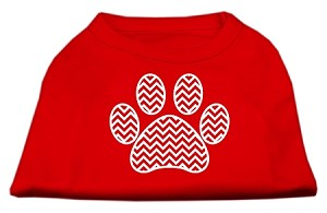Chevron Paw Screen Print Shirt Red Sm (10)
