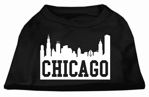 Chicago Skyline Screen Print Shirt Black Lg (14)