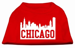 Chicago Skyline Screen Print Shirt Red XL (16)