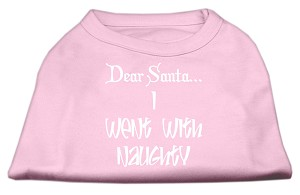 Dear Santa I Went with Naughty Screen Print Shirts Light Pink XXL (18)