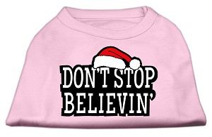 Don't Stop Believin' Screenprint Shirts Light Pink XXL (18)
