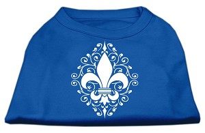 Henna Fleur de Lis Screen Print Shirt Blue Lg (14)