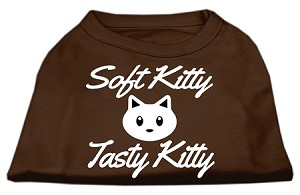 Softy Kitty, Tasty Kitty Screen Print Dog Shirt Brown XL (16)