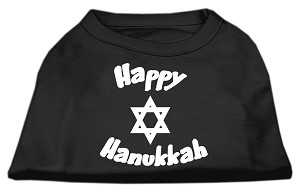 Happy Hanukkah Screen Print Shirt Black Med (12)