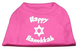 Happy Hanukkah Screen Print Shirt Bright Pink Med (12)