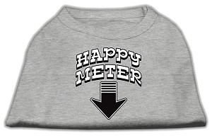 Happy Meter Screen Printed Dog Shirt Grey XS (8)