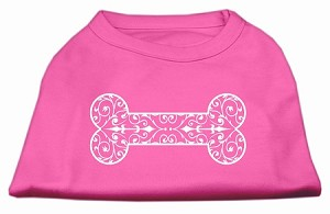 Henna Bone Screen Print Shirt Bright Pink XL (16)