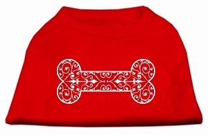 Henna Bone Screen Print Shirt Red Lg (14)
