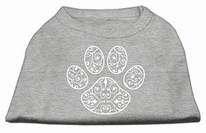 Henna Paw Screen Print Shirt Grey Sm (10)