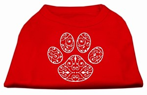 Henna Paw Screen Print Shirt Red Med (12)