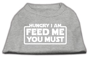 Hungry I am Screen Print Shirt Grey Lg (14)