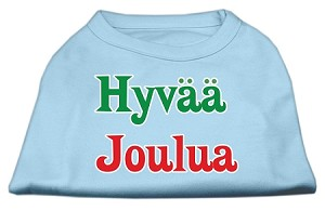 Hyvaa Joulua Screen Print Shirt Baby Blue XXXL(20)