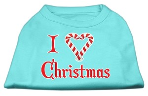 I Heart Christmas Screen Print Shirt Aqua XXXL (20)