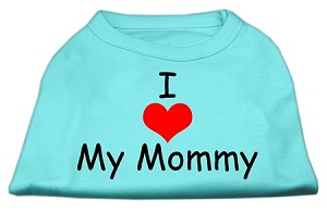 I Love My Mommy Screen Print Shirts Aqua Lg (14)