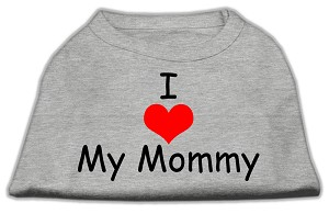 I Love My Mommy Screen Print Shirts Grey XS (8)