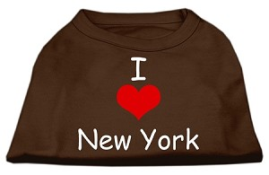 I Love New York Screen Print Shirts Brown XL (16)