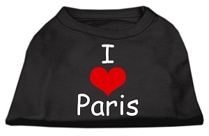 I Love Paris Screen Print Shirts Black XXXL (20)