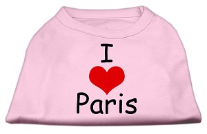 I Love Paris Screen Print Shirts Pink XXL (18)
