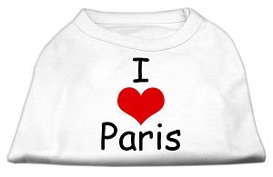 I Love Paris Screen Print Shirts White Lg (14)