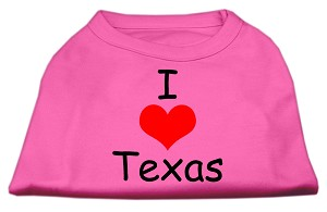 I Love Texas Screen Print Shirts Bright Pink Med (12)