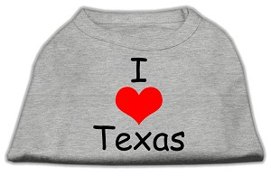 I Love Texas Screen Print Shirts Grey XXL (18)