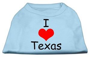 I Love Texas Screen Print Shirts Baby Blue Med (12)
