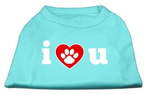 I Love U Screen Print Shirt Aqua XL (16)