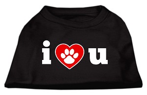 I Love U Screen Print Shirt Black Lg (14)