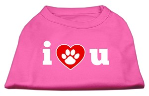 I Love U Screen Print Shirt Bright Pink XXL (18)