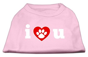 I Love U Screen Print Shirt Light Pink XS (8)