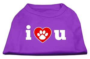 I Love U Screen Print Shirt Purple Sm (10)